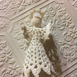 Vintage Angel Ornament - made from doily, for tree